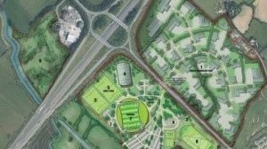 The proposed Eco Park, centred on Junction 13 of the M5 motorway
