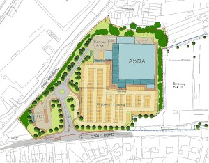Proposed site plan for Asda on the Daniels Industrial Estate at Lightpill