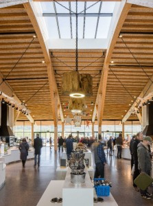 Gloucester Services - interior - view through servery. Photo by Paul Miller on behalf of Glenn Howells Architects. Click to enlarge.